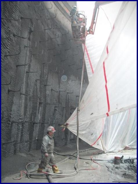 shotcrete wall 38' high and nearly 350' long.